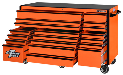 "Extreme Tools RX723019RCORBK-250 - RX Series 72"", 19 Drawer, 30"" Deep Roller Cabinet - Orange with Black Drawer Pulls"