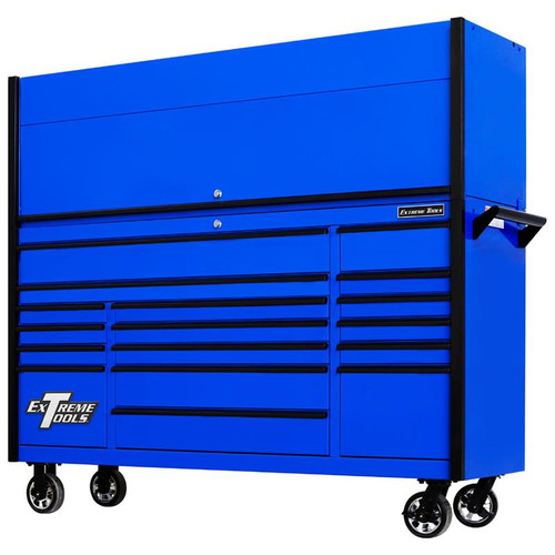 "Extreme Tools DX7218HRUK Combo - DX Series 72"", 17 Drawer, 21"" Deep Roller Cabinet and Matching Hutch - Blue with Black Drawer Pulls"
