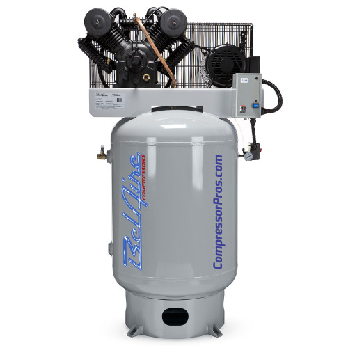 BelAire 6312V 10 HP 208-230 Volt Three Phase Two Stage Cast Iron 120 Gallon Vertical Air Compressor