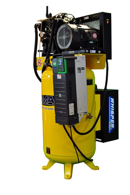EMAX EVR10V120V13 10 HP Single Phase Variable Speed 2 Stage Air Compressor with Aftercooler and Silencer 120 Gallon Vertical Tank