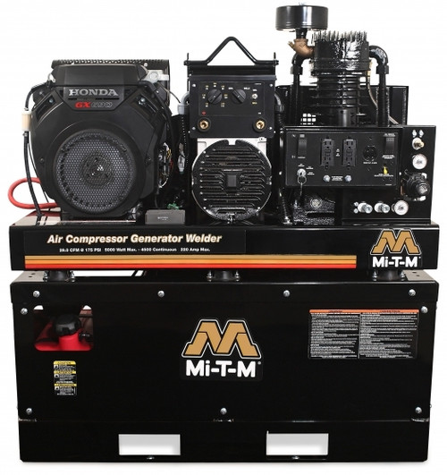 Mi-T-M AGW-SH22-20M 22 HP Honda Powered 29 CFM Air Compressor 5000 Watt Generator and Welder Combo