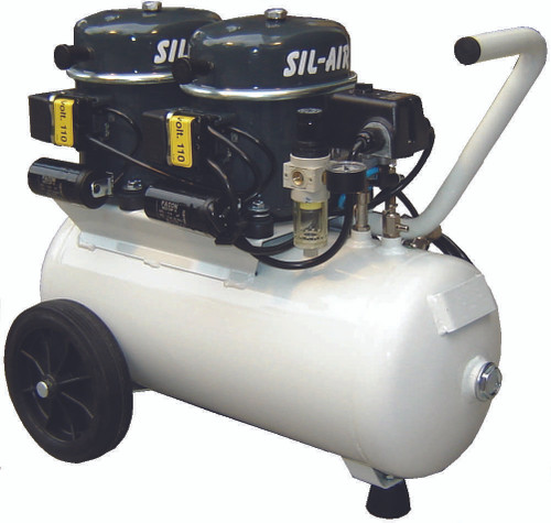 Sil-Air 100-24 2 x 1/2 HP 4.5 CFM 6 Gallon Portable Silent Air Compressor by Silentaire Technologies