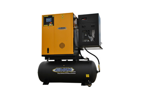 Emax ERVK150003 460 Volt 15 HP Variable Speed Rotary Screw Air Compressor with Dryer
