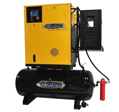 Emax ERVK070003 460 Volt 7.5 HP Variable Speed Rotary Screw Air Compressor with Dryer