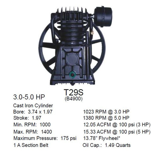T29S Compressor Pump (1312101035) B4900 Two Stage Air Compressor Pump