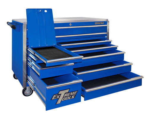 "Extreme Tools EX5511RCBL 55"" 11 Drawer Professional Roller Cabinet Tool Box Shown with Optional Casters"