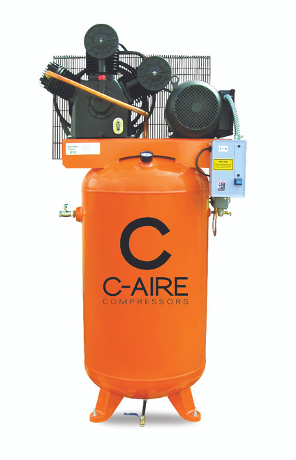 C-Aire A075V080-1230 7.5 HP 208-230 Volt Single Phase Two Stage 80 Gallon Air Compressor