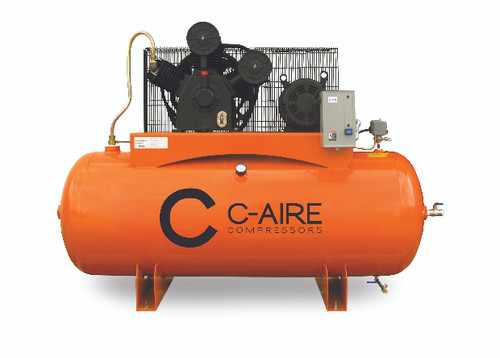 C-Aire A100H120-3460FP 10 HP 460 Volt Three Phase Two Stage 120 Gallon Full Featured Air Compressor
