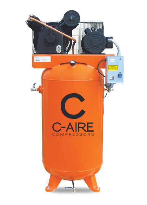 C-Aire A050V080-1230FP 5HP Single Phase Two Stage 80 Gallon Full Featured Air Compressor
