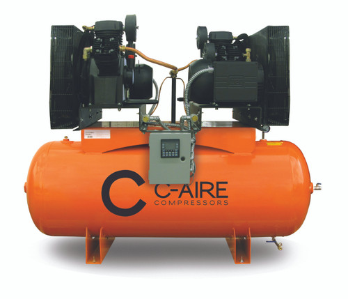 C-Aire A050D120-1230 2 x 5 HP 208-230 Volt Single Phase Duplex Air Compressor 120 Gallon