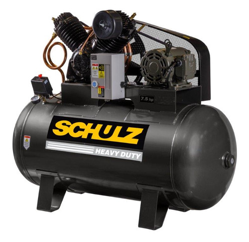Schulz 7580HV30X-3 7.5 HP 208-230 Volt Three Phase Two Stage 80 Gallon Horizontal Air Compressor