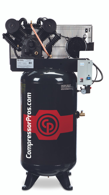 Chicago Pneumatic RCP-C7581VSC2 7.5 HP 208-230 Volt Single Phase Two Stage Cast Iron Low RPM 80 Gallon Air Compressor