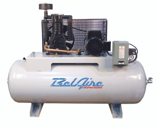 BelAire 318HL 7.5 HP 208-230 Volt Single Phase Two Stage 80 Gallon Horizontal Air Compressor