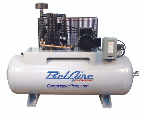 BelAire 318HE 5 HP 208-230 Volt Single Phase Two Stage 80 Gallon Full Featured Horizontal Air Compressor