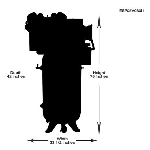 EMAX ESP05V080I3 Industrial Plus Whisper Series 5 HP 3 PH 80 Gallon Vertical Air Compressor with Air Silencer