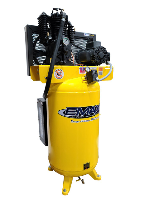 Emax ES05V080I1 Industrial 5hp 2 Stage 1 Phase 80 Gallon Vertical Silent Air System