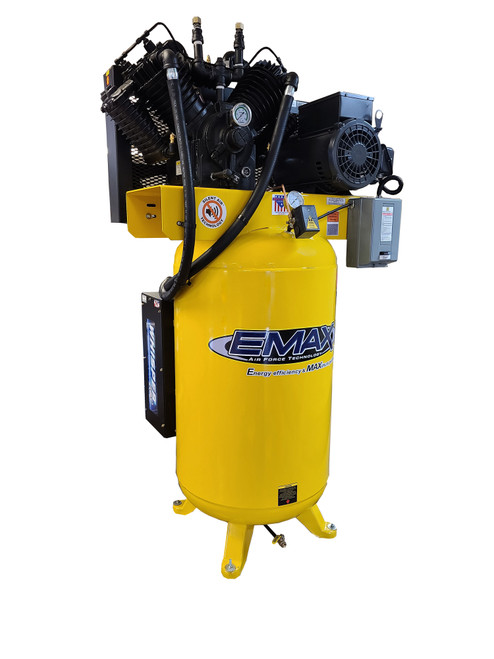 Emax ES07V080V1 Industrial 7.5hp 2 Stage 1 Phase 80 Gallon Vertical Silent Air System