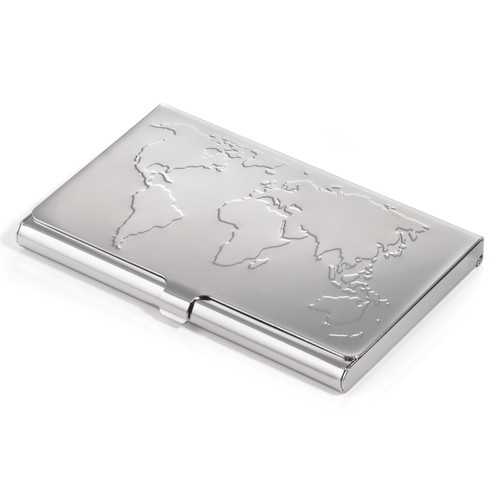 Business Card Case World Map 17 Card Silver