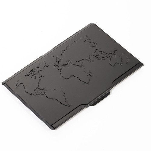 Business Card Case World Map 10 Card Black