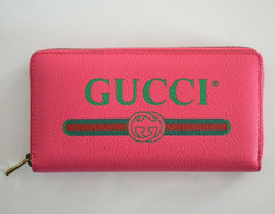 New Authentic GUCCI LOGO Print Pink Leather Long CONTINENETAL ZIP-AROUND WALLET