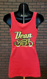 Women's Dean Speed Tank Top - Red with Gold and Black Logo