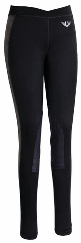 TuffRider Ladies Ventilated Schooling Tights - black w/charcoal