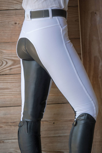 FITS Free Flex Full Seat Zip Front Riding Breeches - white - side