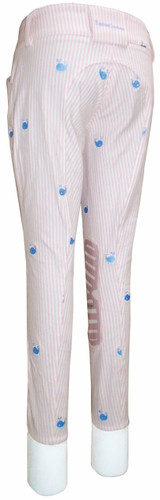 Equine Couture Children's Stripe Whales Breeches - pink - back