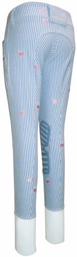 Equine Couture Children's Stripe Whales Breeches - light blue - back