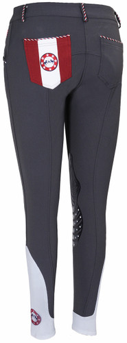 Equine Couture Centennial Knee Patch Breeches - charcoal - back