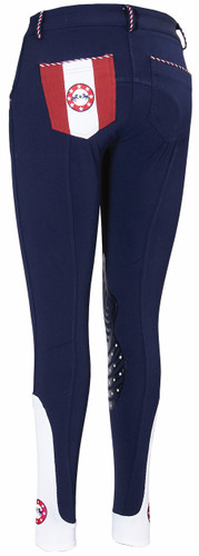 Equine Couture Centennial Knee Patch Breeches - navy - back