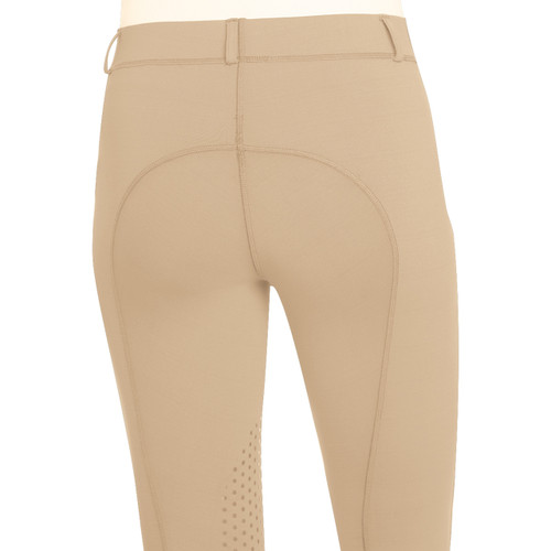 Ovation Ladies AeroWick Silicone Knee Patch Tights - neutral beige - back
