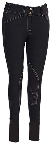 Equine Couture Sportif Natasha Breeches - black w/light tan stitching