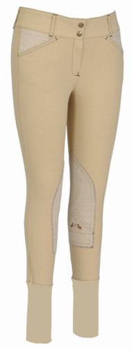 Equine Couture Sportif Natasha Breeches - light tan w/black stitching