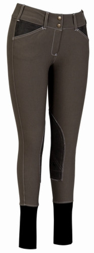 Equine Couture Sportif Natasha Breeches - charcoal w/white stitching