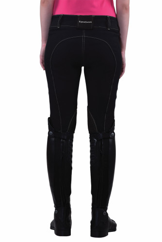 Equine Couture Sportif Natasha Breeches - black w/light tan stitching - back