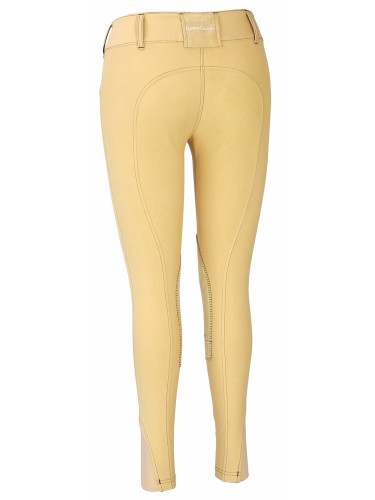 Equine Couture Sportif Natasha Breeches - light tan w/black stitching - back