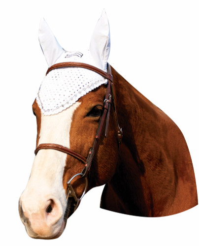 Equine Couture Fly Bonnet With Crystals - white
