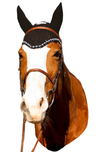 Equine Couture Fly Bonnet With Crystals - black