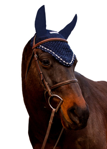 Equine Couture Fly Bonnet With Crystals - navy