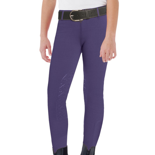 Ovation Child's AeroWick Silicone Knee Patch Tights - concord grape