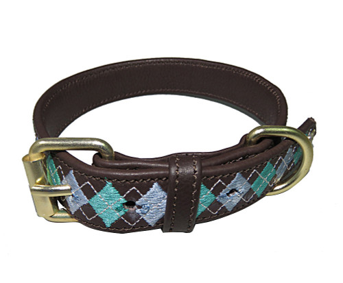 Halo Buffy Leather Dog Collar - cashmere blue/aqua