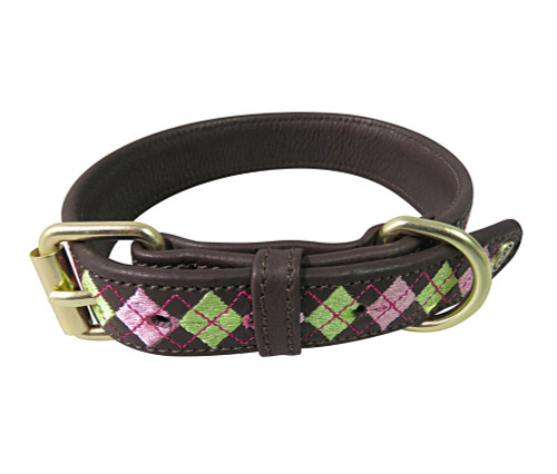 Halo Buffy Leather Dog Collar - lime green/pink