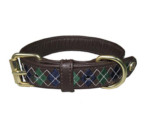 Halo  Buffy Leather Dog Collar - hunter green/navy