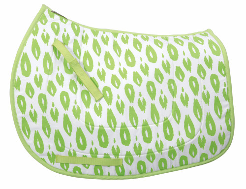 Equine Couture Cleo Cool Rider Bamboo All Purpose Saddle Pad - white w/pear green