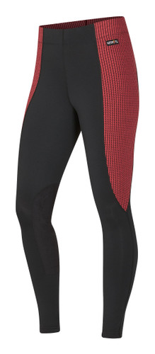 Kerrits Flow Rise Performance Riding Tights - poppy houndstooth