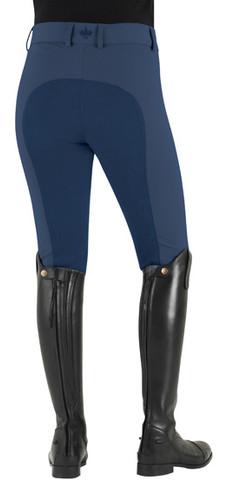 Ovation Celebrity Slim Secret EuroWeave DX Front Zip Full Seat Breeches - monaco blue - back