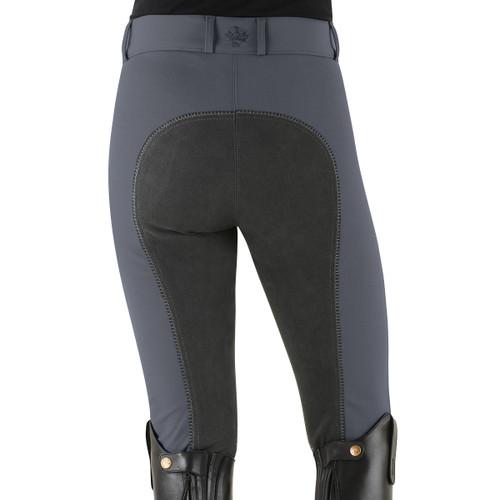 Ovation Celebrity Slim Secret EuroWeave DX Front Zip Full Seat Breeches - charcoal - back