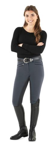 Ovation Celebrity Slim Secret EuroWeave DX Front Zip Full Seat Breeches - charcoal