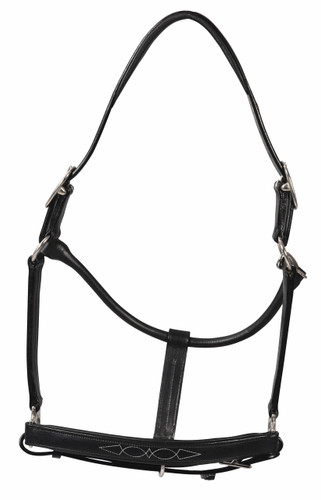 HDR Fancy Padded Rolled Throat Triple Stitched Halter - black